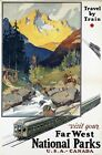 "Vintage Illustrated Travel Poster CANVAS PRINT National Parks Canada USA 24""X18"""