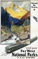 """Vintage Illustrated Travel Poster CANVAS PRINT National Parks Canada USA 24""""X18"""""""