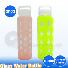 2X 700ml Sport Glass Water Hydration Bottle Outdoor Gym Training Drink BPA Free