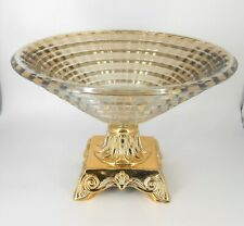 Gold pedestal crystal vase / Gift / Centerpiece / Fruit bowl / Home decorative