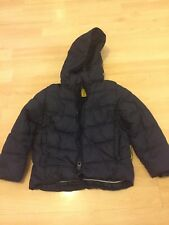 Boys Zara Navy Blue Puffer Coat Age 3-4 With Removable Hood