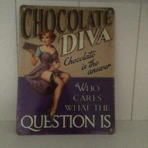 SHABBY VINTAGE STYLE CHIC FUN METAL SIGN Chocolate Diva