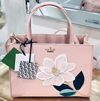 NWT Kate Spade Magnolia Sam Bag Pale Pink Leather Applique Magnolia flower NEW