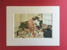 Japanese Reproduction Print  SHUNGA # 4  Erotic Cream Mounted on Parchment Paper