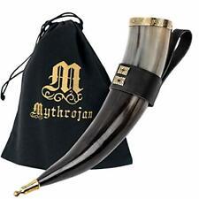 Viking Drinking Horn/Wine/Mead Mug w Leather Holder - Polished Finish - 350 ML