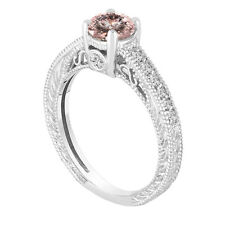 Pink Peach Morganite Engagement Ring 14K White Gold Vintage Antique Style 1.05ct