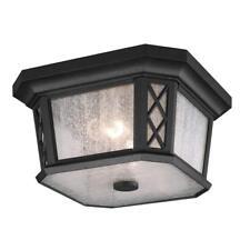 Feiss OL9513TXB 2-Bulb Outdoor Flush Mount Lantern, Textured Black Finish
