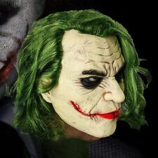 Halloween Joker Latex Mask Horror Scary Clown Mask with Green Hair Ledger