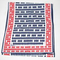 Vera Neumann Scarf Red White Blue Diamond X Pattern Japan 54 X 11