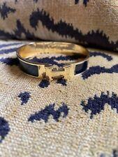 HERMES H Logo Palladium Plated Black Enamel Clic Clac Bangle Bracelet Authentic