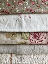 Antique vintage French fabrics FLORAL muted tones REWORK lot WASHED