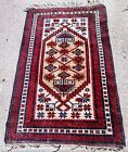 3X4 BEAUTIFUL VINTAGE Tribal HANDMADE AREA RUG FROM TURKEY RED and Gold