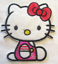 ÉCUSSON PATCH BRODE applique thermocollante ** 6,5 x 7 cm ** CHAT KITTY noeud