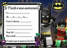 5 cartes invitation anniversaire  Lego Batman 01   d'autres en vente !!