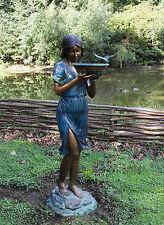 Bronzeskulptur Frau mit einer Schale Vogeltränke mit Wasseranschluss Dekorativ *