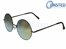 STEAMPUNK TEASHADES 50'S 60'S 70'S SUNGLASSES CIRCLE ROUND GREEN MIRRORED SP006