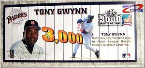 TONY GWYNN 3000 Hit Memorabilia Stamped Envelope August 6th Qualcom Stadium