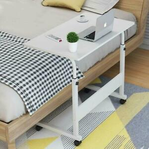 Height Adjustable Rolling Laptop Desk Cart Over Bed Hospital Table Stand White