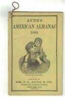 Ayer's Almanac 1888 JC Ayer & Co Lowell Mass Sarsaparilla