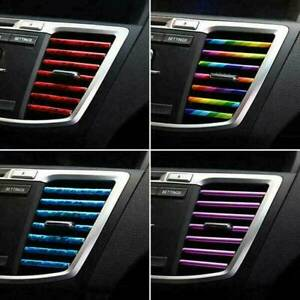 10pcs Car Accessories Colorful Air Conditioner Air Outlet Decoration Strip Cover