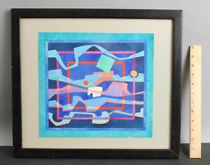 Lg Authentic FREDERIC M FAILLACE American Abstract Op-Art Watercolor Painting NR