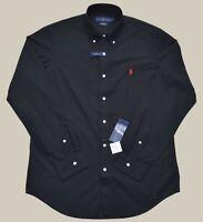New M L XXL POLO RALPH LAUREN Mens button down Shirt BLACK Long Sleeve top solid
