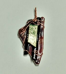 Brown And Copper Dichroic Glass Pendant By L Morris