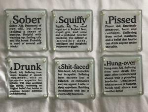 Glass Coaster Set Drunk Rude Present