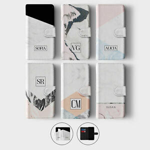 Tirita Personalised Wallet Flip Case for Samsung S10 S9 S8 Pink Marble Colourful