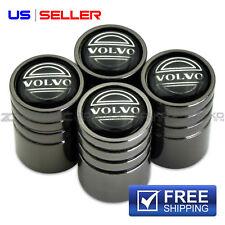 VOLVO VALVE STEM CAPS WHEEL TIRE BLACK CHROME- US SELLER VE58