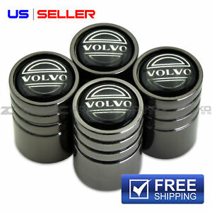 VOLVO VALVE STEM CAPS WHEEL TIRE BLACK CHROME- US SELLER VE58