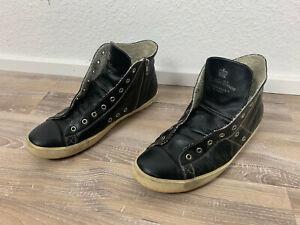 Leather Crown High Top Sneaker Schwarz Handarbeit Gr.46 S2