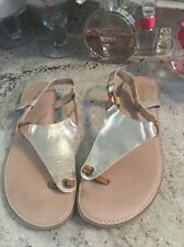 SPERRY TOP-SIDER Gold Thongs Flip Flops  Preppy Flat Sandals Size 6.5