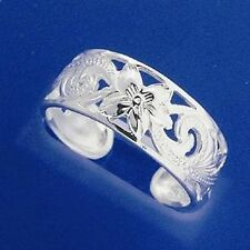 Sterling Silver Hand Carved Frangipani Scrolling Toe Ring 925 8mm Wide Hawaiian