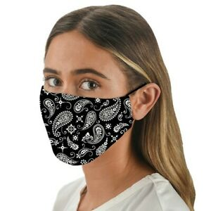 Face Mask Snoozies Washable Face Covering with Filter Pocket - BLACK BANDANA