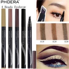 PHOERA 4 Tip Head Eyebrow Tattoo Fork Pen Microblading Brow Enhancer Waterproof