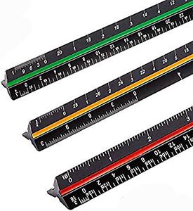 Scale Ruler Architectural Aluminum Triangular 12 Sz  Architect Inch Blue Black