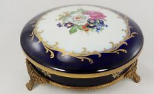 Limoges Porcelain France Real Fleur De Lis  Covered Candy Dish With Bronze Stand