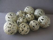 Lot of 10 Goldtone Christmas Tree Balls Mid-Century 1960's or 1970's unbreakable