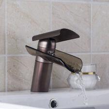 Black Glass Waterfall Brass Basin Faucet Bathroom Deck Mounted Sink Mixer Tap