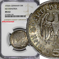 Germany-Third Reich Silver 1936-A 5 Reichsmark NGC MS62 Hindenburg issue KM# 86