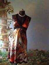 Cache' Women's Multi-color 100% Silk Cocktail Halter Dress Size 10