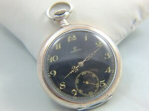 OMEGA solid silver men's pocket watch, 1924, black dial RARE, working