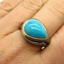925 Sterling Silver 2-Tone Real Bisbee Turquoise Gemstone Ring Size 9