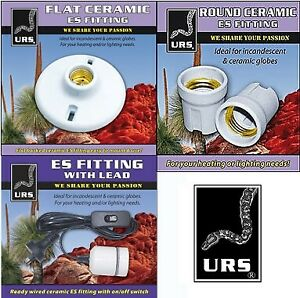 URS ES GLOBE FITTINGS WITH CORD, FLAT CERAMIC, ROUND FITTING, REPTILE, CHICKS