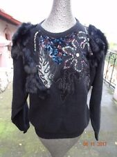 Magnolia Vintage lambswool angora black beads sequins rabbit fur sweater size L