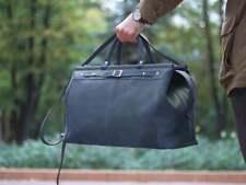grey cross-body bag women & men Metal frame purse Leather doctor bag