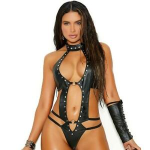 Studded Leather Teddy Strappy Cut Out O Rings Collar Neck G-String Back L2290