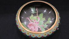 VINTAGE JINGFA ENAMELED CLOISONNE DECORATIVE BOWL W/STAND
