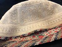 Cabeza XIX Siglo Iran Islam Bordado Textil Antigua Islámico Embroidery 19th